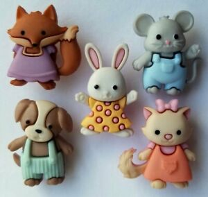 FOREVER FRIENDS Craft Buttons Animal Fox Cat Dog Mouse Rabbit Baby Dress It Up