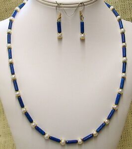 Necklace and Earring Set Light Blue Riverstone and Pearls Gold Plated Bead Caps