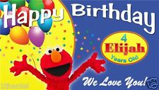 Elmo Birthday Banner Personalized Design - Choose A: With Balloons or B: Squares