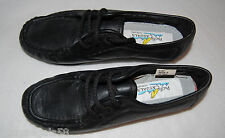"""WOMENS SHOES Pacific Casuals BLACK LEATHER Casual Lace Up 1"""" Heel  6.5 M"""