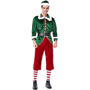 Luxurious Adult Elf Costume Mens Christmas Santa Fancy Dress Xmas Outfit Party