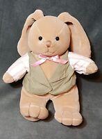 "Commonwealth Brown BUNNY Rabbit 10"" Plush Stuffed Animal W/ Vest Bow"