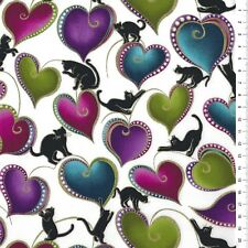 "(€ 18,00/m) Patchworkstoff - Cat-I-tude "" Hearts and Cats ""  - 25 x 110cm"