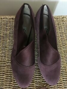 Clarks Kendra Mix Aubergine Suede Shoes