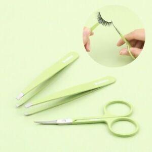 Makeup Tool Kit Slant Flat Eyebrow Tweezer Eye Hair Removal Curved Professional