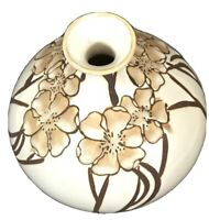 Art pottery vase hand painted tan and beige floral 7 x 6 bulb shape home decor