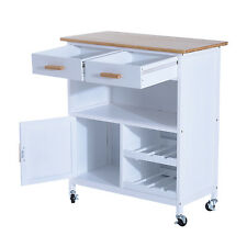 HOMCOM Wood MDF Kitchen Trolley Dining Cart Drawer Storage Rolling Wheels White