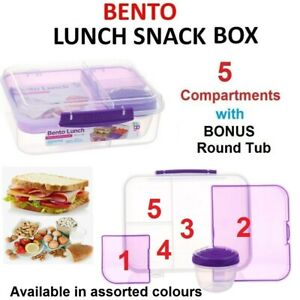 BENTO LUNCH BOX Sandwich Removable Compartments Kids Adult Fruit Food Snack