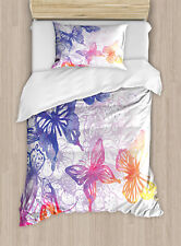 Watercolor Twin Size Duvet Cover Set Fantasy Butterflies with 1 Pillow Sham