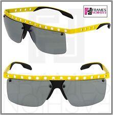 PRADA MACHINE PR50RS Yellow Black Perforated Mirorred Sport Sunglasses 50R