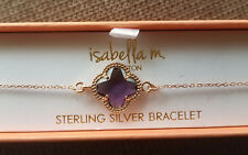 Isabella M. Boston Gold-Plated Sterling Silver Ametist Clover Bracelet NEW