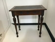 More details for edwardian table in dark hardwood ?mahogany with leather top