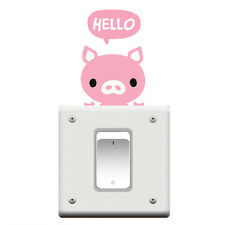 Bedroom Wall Decorating Switch Vinyl Decal Sticker Decor Cartoon Pig Desgin Pink