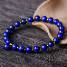Authentic 6mm Lapis Lazuli Beads With Sterling Silver Bead Bracelet 16cm L