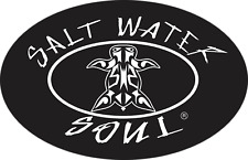 """SALTWATER SOUL Decal Oval Logo Turtle White 6"""" x 4"""" Vinyl Decal Fishing Sticker"""