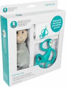 Matchstick Monkey Teething Gift Set Teether Baby BoyGirl Baby Shower - Green
