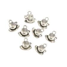 tea coffee cup saucer Tibetan Silver Charms Pendants Beads fit bracelet 10pcs