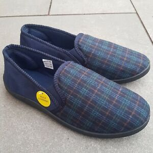 GENTS CHECKED SLIP ON MENS NAVY INDOOR EASY FITTING HARD SOLE COMFY SLIPPERS SZ