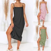 UK Ladies Long Cotton Cami Dress Sleeveless Women Strap Beach Holiday Party 8-26