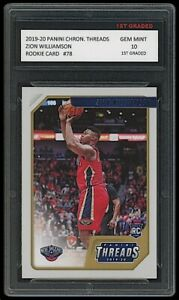 ZION WILLIAMSON 2019-20 PANINI CHRONICLES THREADS 1ST GRADED 10 ROOKIE CARD RC