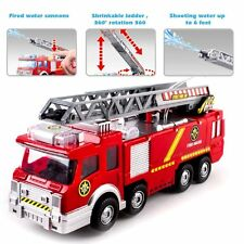Kids Toy Fire Truck Rescue Fighters Ladder Vehicle Lights Sounds Water Pump 10""