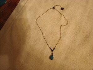 ANNE KOPLIK blue stones Bronze NECKLACE