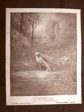 Incisione di Gustave Dorè 1890 Matelda acqua di Lete Divina Commedia Purgatorio