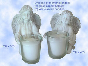 Angel Candle Holders Pet Memorial (2) Votives Includes Candles Dog Cat Any Pet