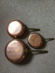 3 X Copper Frying Pans