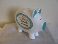 "Glass Piggy bank Skinny pig coin bank ""I'm not cheap I'm financially Challenged"""