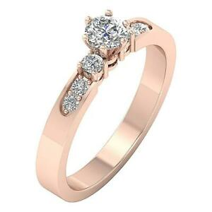 Three Stone Engagement Natural Diamond Ring I1 G 0.65 Ct 14K Rose Gold Prong Set