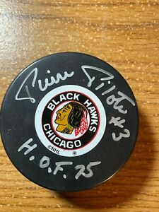 Pierre Pilote Chicago Blackhawks Signed Autographed HOF 75 Hockey Puck