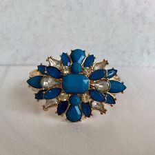 Shourouk Style Flower Crystal Cluster Braceleet Turqoise Color Elastic Vhain Chu