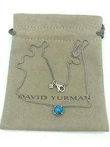"""DAVID YURMAN Chatelaine Pendant Sterling Silver Necklace with Turquoise 17-18"""""""