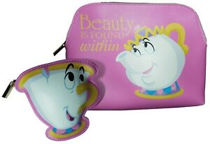 Beauty & The Beast Chip Bag & Mrs Potts Wash Bag Duo Storage Bags Make Up Bags