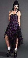 Lip Service Plaid Ruffle Purple Black Women Prom Dress XS