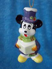 Vintage Porcelain Walt Disney Productions Mickey Caroling Christmas Ornament