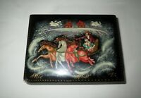 Vintage Hand Painted RUSSIAN LACQUER BOX Trinket Jewelry - SIGNED