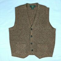 Vintage Orvis Shetland Wool Size Medium Sweater Vest Cardigan Button Up
