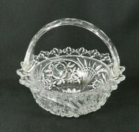 "Vtg Handled Clear Pressed Glass Basket Bowl Roses Fleur De Lis Edge 7"" H"