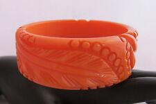 VTG Bakelite Bangle Bracelet Pumpkin Creamy Orange Heavy Carved Leaves Circles