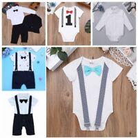 Gentleman Baby Kid Boy Infant Romper Jumpsuit Bodysuit Cotton Clothes Outfits