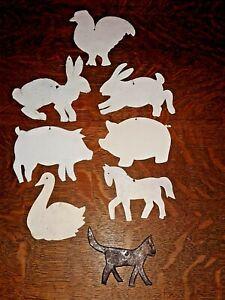 Lot of 8 Primitive Tin Farm Animals