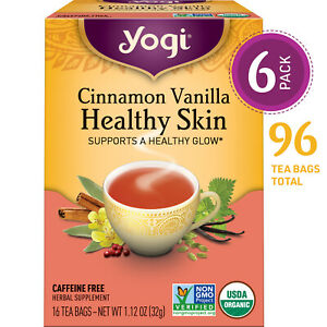 Yogi Tea - Cinnamon Vanilla Healthy Skin - 6 Pack, 96 Tea Bags Total