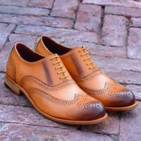 Handmade Oxfords Leather Shoes Burnished Tan Brown Party Casual Calf Skin Shoes