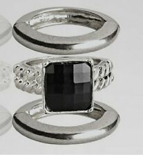 Brand New Avenue Black Square Stacking Silver-tone Ring Set Free Shipping!