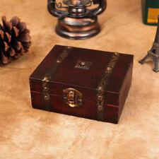 Retro Trinket Vintage Wooden Treasure Case Jewelry Storage Box Holder Organizer