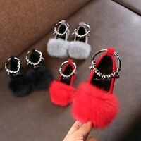 Children Kids Baby Girls Warm Flock Fluffy Bowknot Student Single Princess Shoes