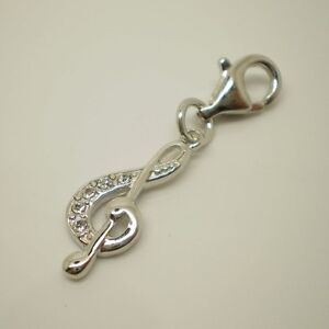 925 sterling silver Music Notes with Rhinestone Pendant Clip onCharm CH-074C