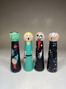 Halloween Peg Doll Trio: Zombie, Frankenstein, Skeleton & Scared Woman EUC Lot